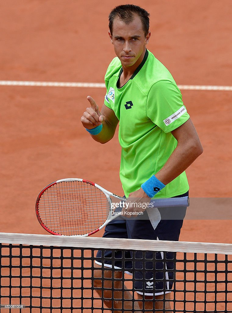 <a gi-track='captionPersonalityLinkClicked' href=/galleries/search?phrase=Lukas+Rosol&family=editorial&specificpeople=4100845 ng-click='$event.stopPropagation()'>Lukas Rosol</a> of Czech Republic reacts during his semifinal match against Mikhail Youzhny of Russia during day six of MercedesCup at TC Weissenhof on July 12, 2014 in Stuttgart, Germany.
