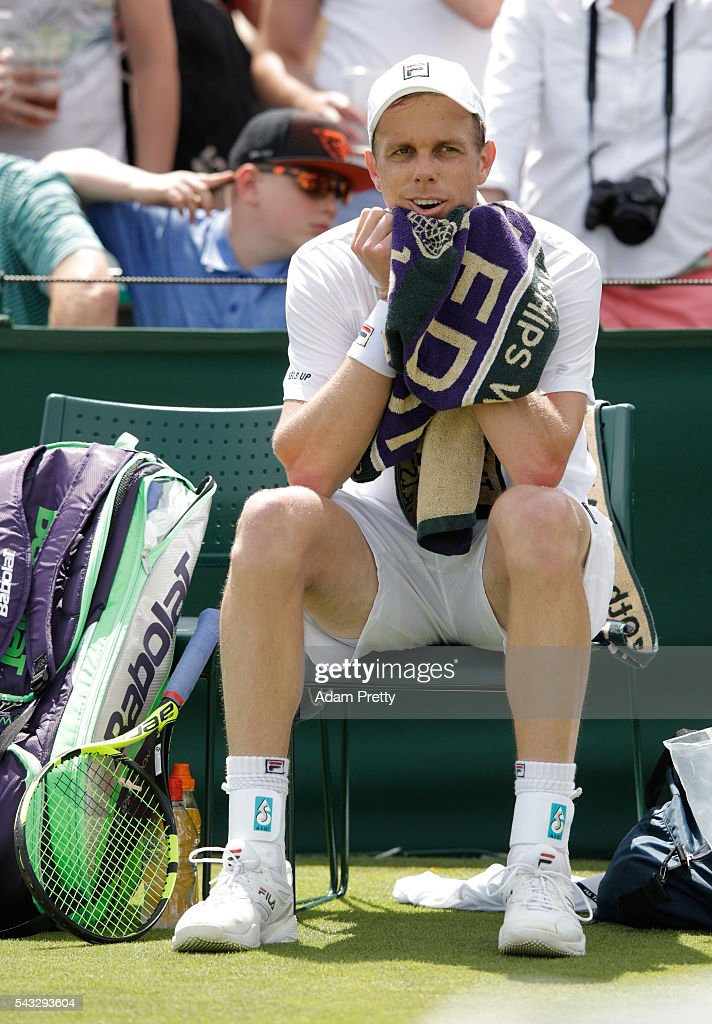<a gi-track='captionPersonalityLinkClicked' href=/galleries/search?phrase=Lukas+Rosol&family=editorial&specificpeople=4100845 ng-click='$event.stopPropagation()'>Lukas Rosol</a> of The Czech republic cools down during the Men's Singles first round match against Sam Querrey of The United States on day one of the Wimbledon Lawn Tennis Championships at the All England Lawn Tennis and Croquet Club on June 27th, 2016 in London, England.