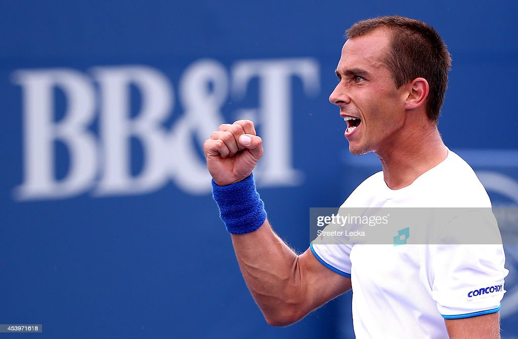 <a gi-track='captionPersonalityLinkClicked' href=/galleries/search?phrase=Lukas+Rosol&family=editorial&specificpeople=4100845 ng-click='$event.stopPropagation()'>Lukas Rosol</a> of the Czech Republic reacts after a shot against Yen-Hsun Lu of Tawain during the men's semifinal match of the Winston-Salem Open at Wake Forest University on August 22, 2014 in Winston Salem, North Carolina.
