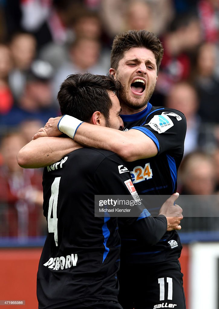 Lukas Rupp and Moritz Stoppelkampf of SC Paderborn 07 celebrates 2nd goal of Rupp during the Bundesliga match between Sport Club Freiburg and SC...