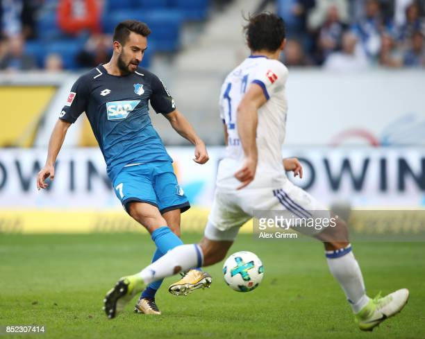 Lukas Rupp of Hoffenheim about to score his teams second goal to make it 20 during the Bundesliga match between TSG 1899 Hoffenheim and FC Schalke 04...