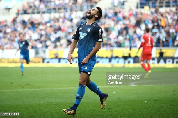 Lukas Rupp of Hoffenheim celebrates after he scored his teams second goal to make it 20 during the Bundesliga match between TSG 1899 Hoffenheim and...