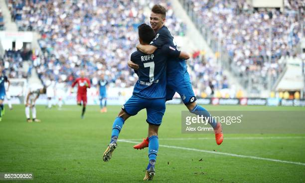 Lukas Rupp of Hoffenheim celebrates after he scored his teams second goal to make it 20 with Dennis Geiger of Hoffenheim during the Bundesliga match...
