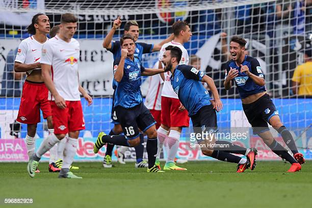 Lukas Rupp of Hoffenheim celebrates his team's first goal during the Bundesliga match between TSG 1899 Hoffenheim and RB Leipzig at Wirsol...