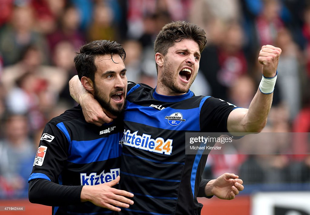 Lukas Rupp of SC Paderborn 07 celebrates with Moritz Stoppelkamp after scoring the 2nd goal during the Bundesliga match between Sport Club Freiburg...