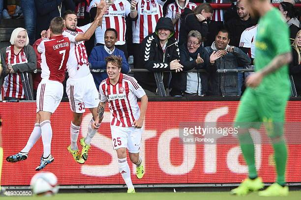 Lukas Spalvis of AaB Aalborg celebrates after scoring their first goal during the Danish Alka Superliga match between AaB Aalborg and Brondby IF at...