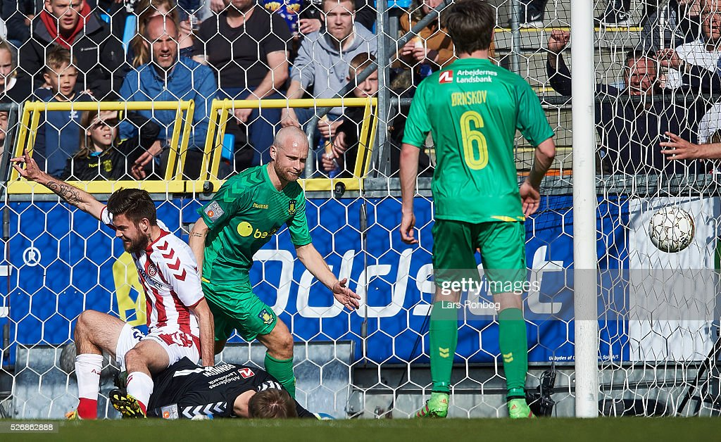Lukas Spalvis of AaB Aalborg celebrates after scoring their second goal during the Danish Alka Superliga match between AaB Aalborg and Brondby IF at Nordjyske Arena on May 1, 2016 in Aalborg, Denmark.