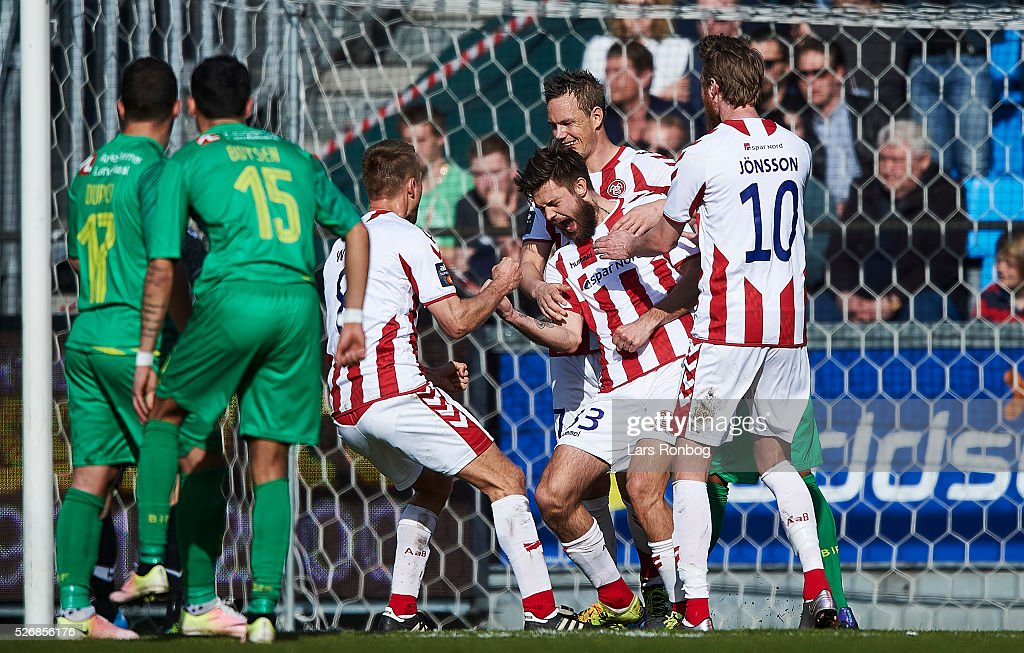 Lukas Spalvis of AaB Aalborg celebrates after scoring their third goal during the Danish Alka Superliga match between AaB Aalborg and Brondby IF at Nordjyske Arena on May 1, 2016 in Aalborg, Denmark.