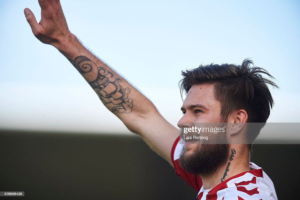 Lukas Spalvis of AaB Aalborg celebrates during the Danish Alka Superliga match between AaB Aalborg and Brondby IF at Nordjyske Arena on May 1, 2016 in Aalborg, Denmark.