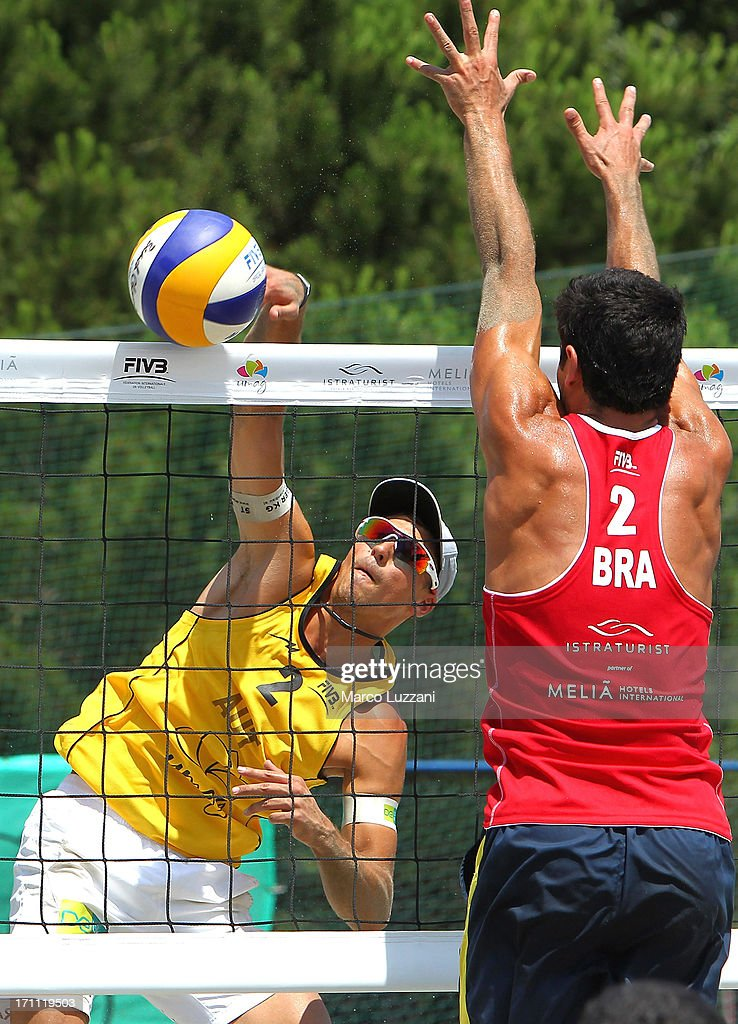 Lukas Stranger of Austria smashes the ball during FIVB Under 21 World Championships on June 22, 2013 in Umag, Croatia.