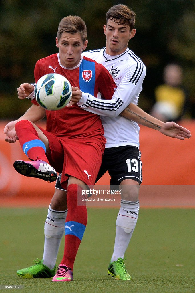 Lukas Stratil of Czech Republic and Tim Leibold of Germany battle for the ball during the U20 juniors tournament match between the Czech Republic and Germany on October 14, 2013 in Gemert, Netherlands.