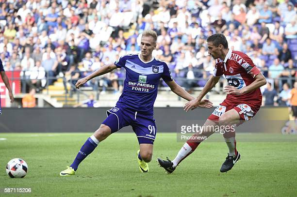Lukas Teodorczyk forward of RSC Anderlecht and Nebosja Pavlovic midfielder of KV Kortrijk pictured during Jupiler Pro League second day competition...