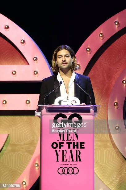 Lukas Vincent accepts the award for Australian Designer of the Year during the GQ Men Of The Year Awards Ceremony at The Star on November 15 2017 in...