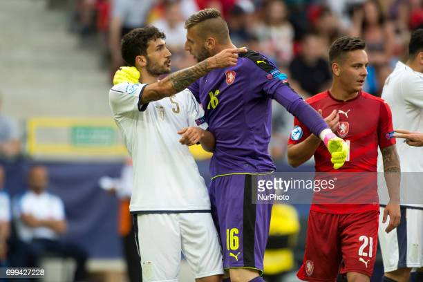 Lukas Zima of Czech talks with Danilo Cataldi of Italy during the UEFA European Under21 Championship 2017 Group C between Czech Republic and Italy at...