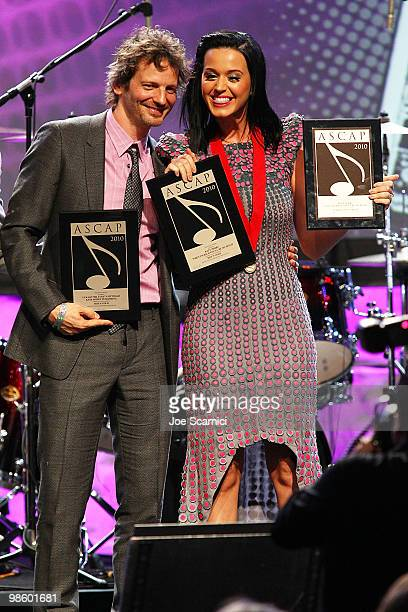 Lukasz 'Dr Luke' Gottwald and Katy Perry accept the ASCAP Award at the 27th Annual ASCAP Pop Music Awards Show at Renaissance Hollywood Hotel on...