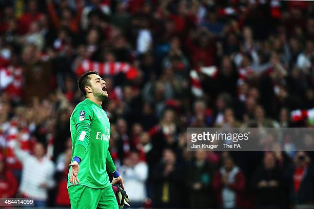 Lukasz Fabianski of Arsenal celebrates after winning the penalty shootout to claim victory in the FA Cup SemiFinal match between Wigan Athletic and...