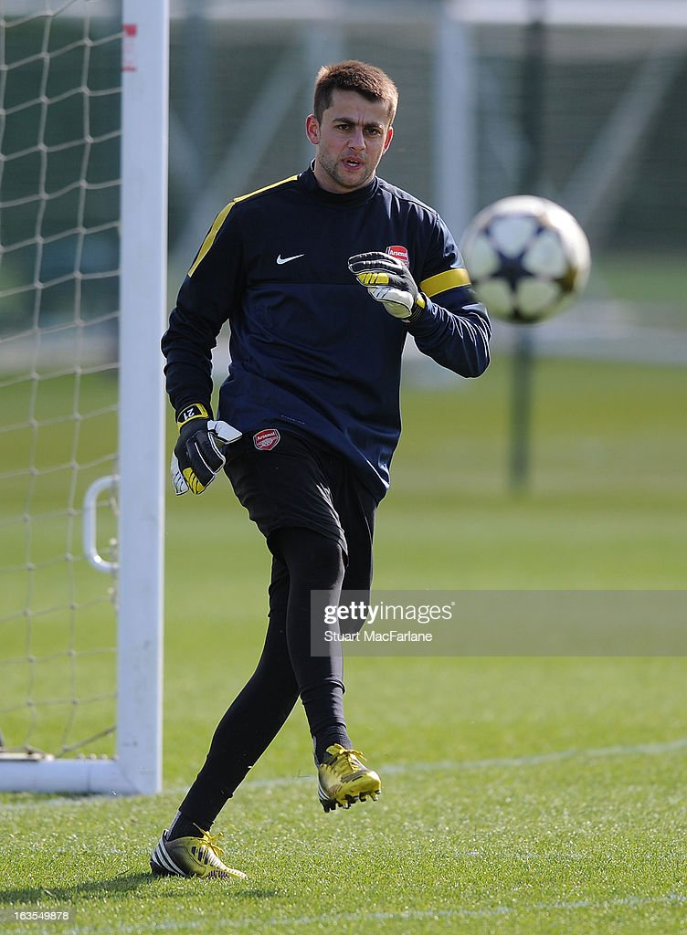 Lukasz Fabianski of Arsenal during a training session at London Colney on March 12, 2013 in St Albans, England.