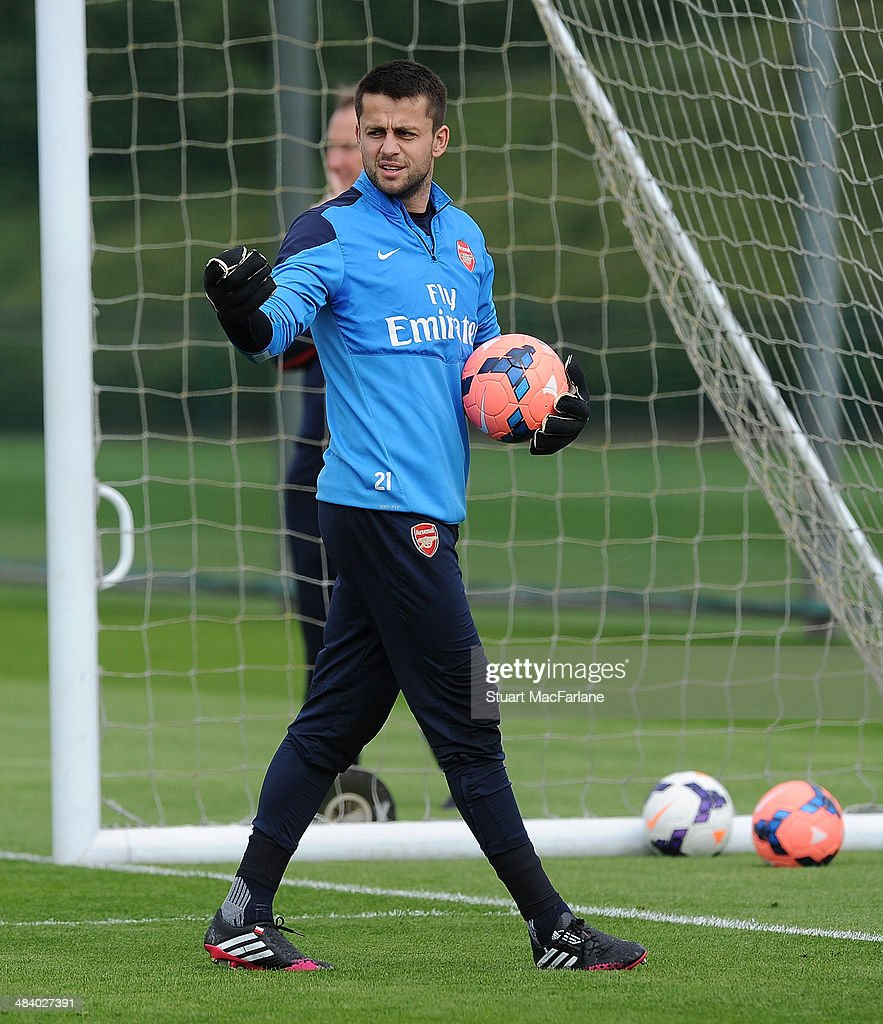 Lukasz Fabianski of Arsenal during a training session at London Colney on April 11, 2014 in St Albans, England.