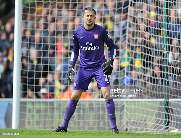 Lukasz Fabianski of Arsenal during the Barclays Premier League match between Norwich City and Arsenal at Carrow Road on May 11 2014 in Norwich England