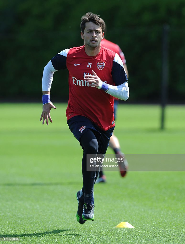 Lukasz Fabianski of Arsenal in action during a training session at London Colney on July 09, 2013 in St Albans, England.