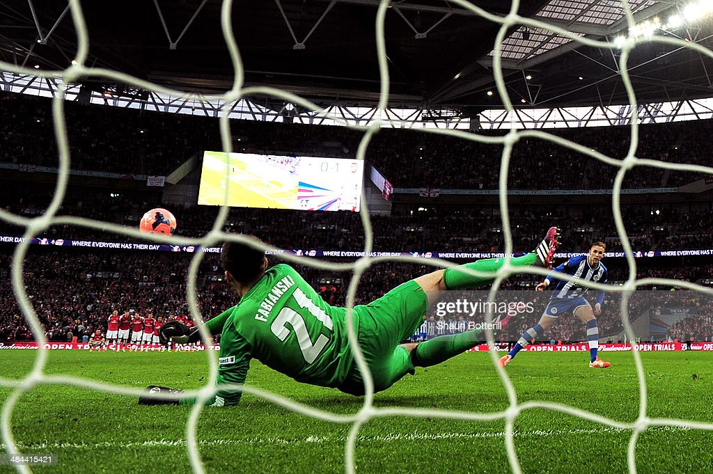 <a gi-track='captionPersonalityLinkClicked' href=/galleries/search?phrase=Lukasz+Fabianski&family=editorial&specificpeople=560874 ng-click='$event.stopPropagation()'>Lukasz Fabianski</a> of Arsenal saves <a gi-track='captionPersonalityLinkClicked' href=/galleries/search?phrase=Jack+Collison&family=editorial&specificpeople=4431214 ng-click='$event.stopPropagation()'>Jack Collison</a> of Wigan Athletic's penalty during the shoot out during the FA Cup Semi-Final match between Wigan Athletic and Arsenal at Wembley Stadium on April 12, 2014 in London, England.