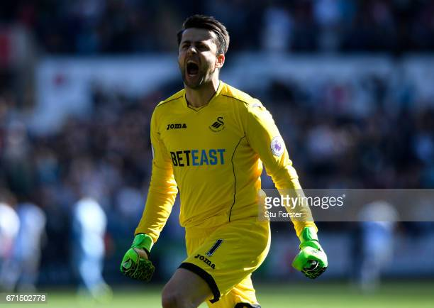 Lukasz Fabianski of Swansea City celebrates his sides second goal during the Premier League match between Swansea City and Stoke City at the Liberty...