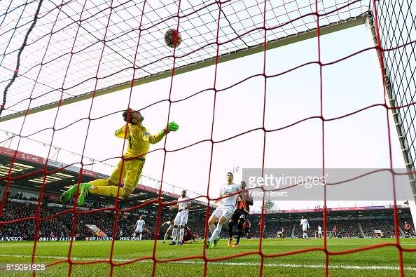 Lukasz Fabianski of Swansea City dives for the ball during the Barclays Premier League match between AFC Bournemouth and Swansea City at Vitality...