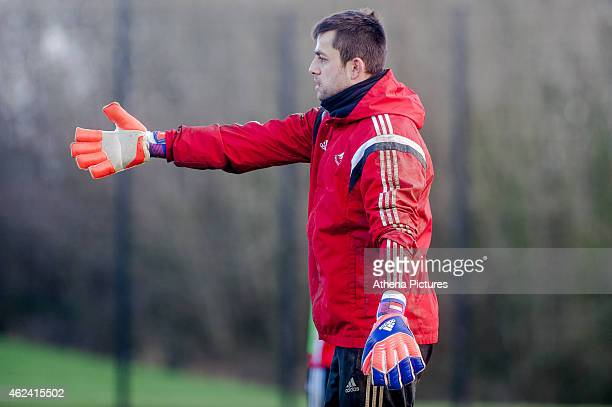 Lukasz Fabianski of Swansea City gestures to team mates during training on January 28 2015 in Swansea Wales