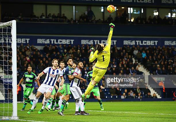 Lukasz Fabianski of Swansea City makes a save during the Barclays Premier League match between West Bromwich Albion and Swansea City at The Hawthorns...