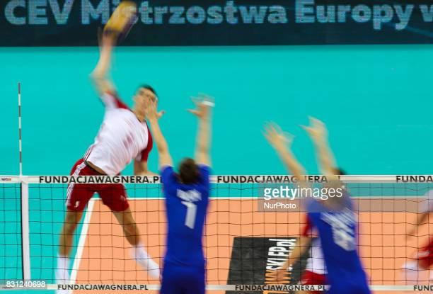 Lukasz Kaczmarek Dmitrii Volkov Alexey Ostapenko during the prestigious 2017 Hubert Wagner Memorial volleyball friendly tournament match between...