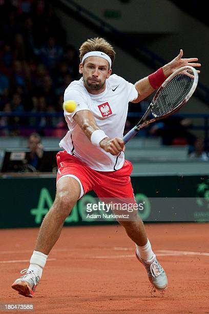 Lukasz Kubot of Poland in action during the Davis Cup match between Poland and Australia at the Torwar Hall on September 13 2013 in Warsaw England