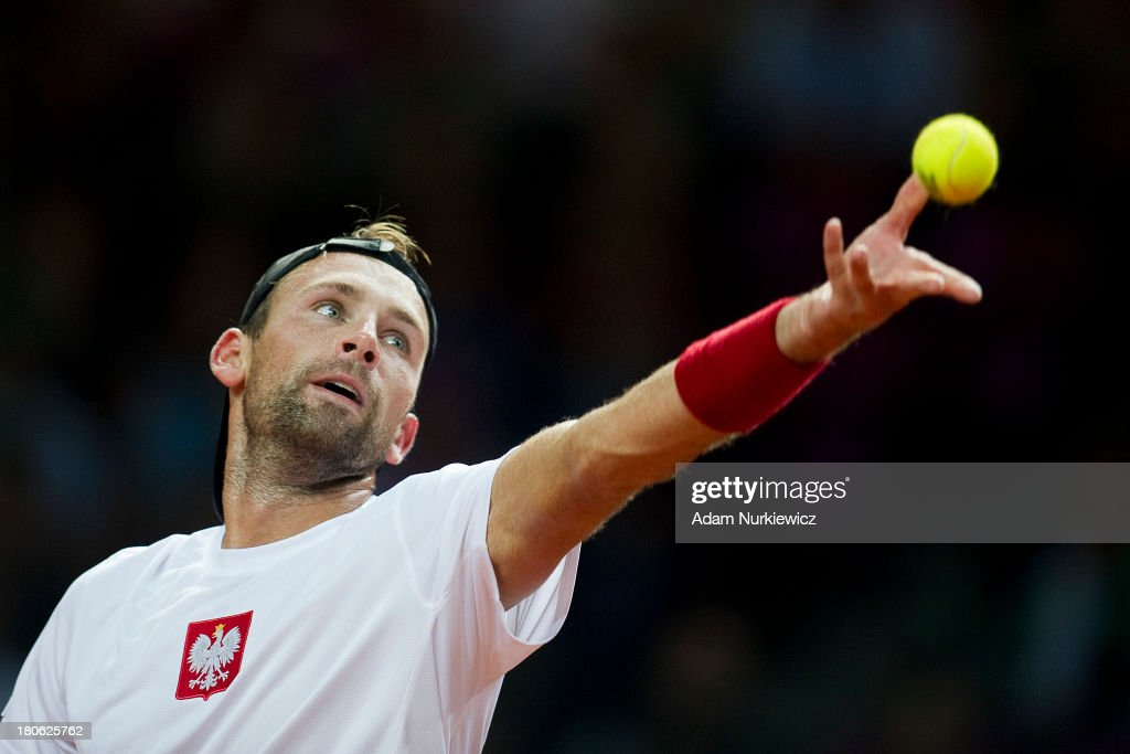 Lukasz Kubot of Poland in action during the Davis Cup match between Poland and Australia at the Torwar Hall, on September 15, 2013 in Warsaw, Poland.