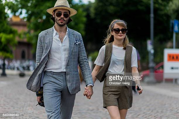Lukasz Maslowski and Patrycja Rychlik during Pitti Uomo 90 on June 15 in Florence Italy