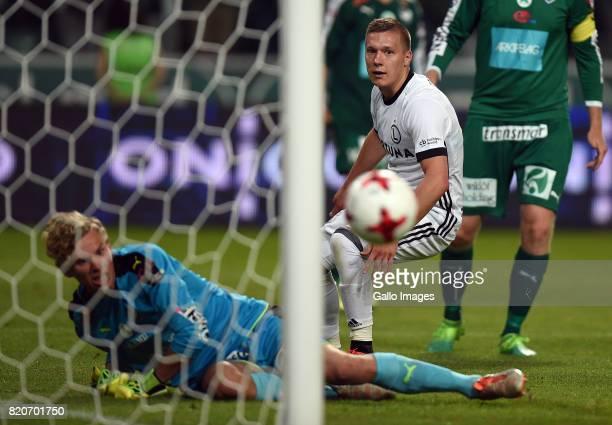 Lukasz Moneta of Legia Warszawa missed an opportunity to score a goal Marc Nordqvist of IFK Mariehamn during the match between Legia Warszawa and IFK...