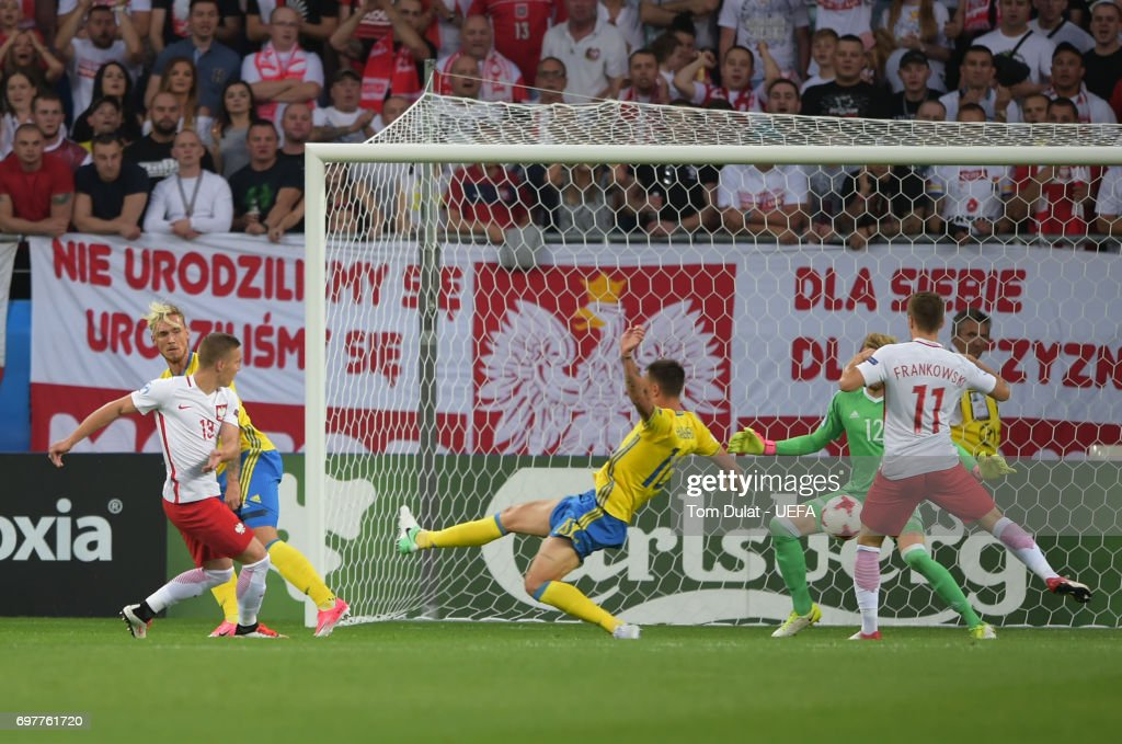 Lukasz Moneta of Poland scores the opening goal during the UEFA European Under-21 Championship Group A match between Poland and Sweden at Lublin Stadium on June 19, 2017 in Lublin, Poland.