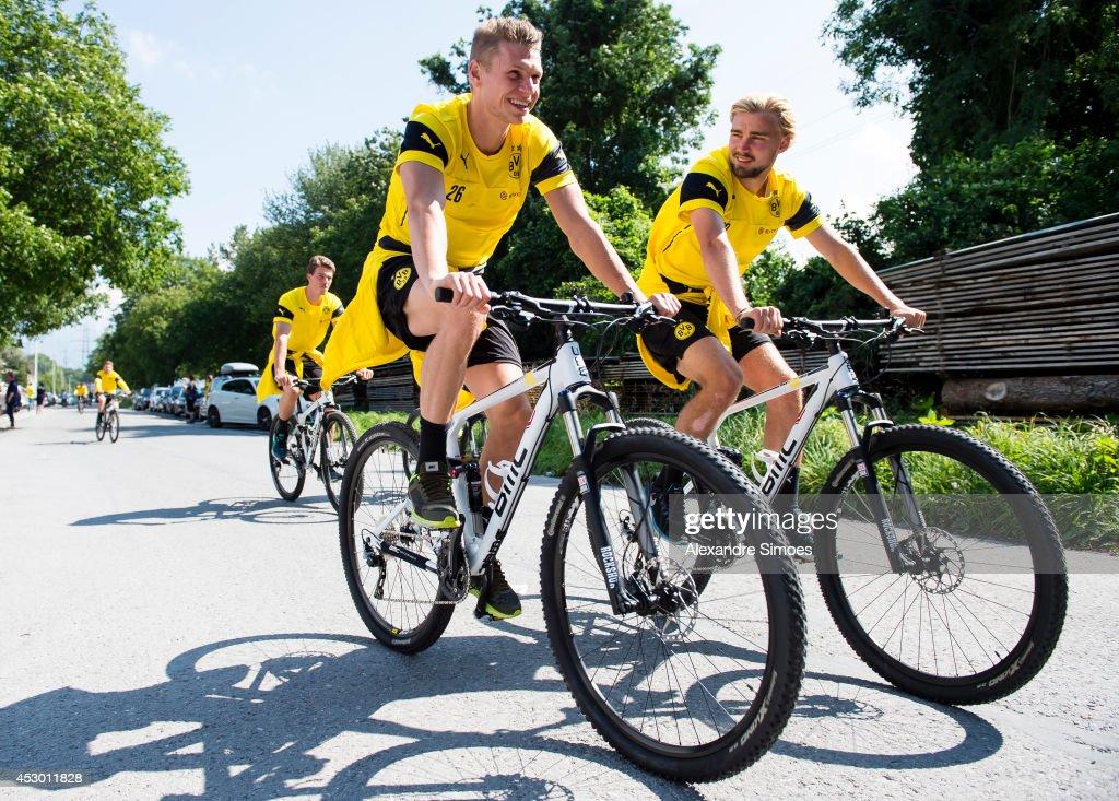 Lukasz Piszczek and Marcel Schmelzer of Borussia Dortmund during a training session on July 31 2014 in Bad Ragaz Switzerland