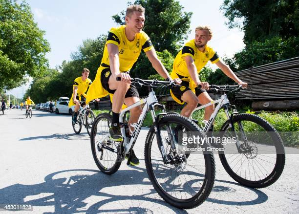 Lukasz Piszczek and Marcel Schmelzer of Borussia Dortmund during a training session on July 31 2014 in Bad Ragaz Switzerland