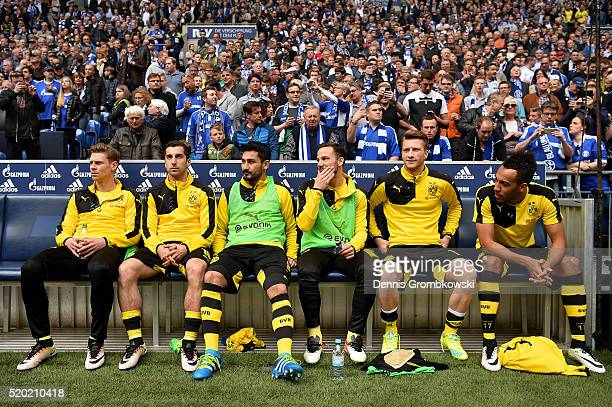 Lukasz Piszczek Henrikh Mkhitaryan Ilkay Guendogan Gonzalo Castro Marco Reus and PierreEmerick Aubameyang of Borussia Dortmund look on from the bench...