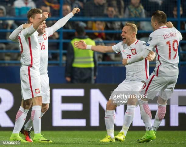 Lukasz Piszczek Jakub Blaczczykowski Kamil Glik and Piotr Zielinski of Poland celebrate after goal for Poland during the FIFA World Cup 2018...