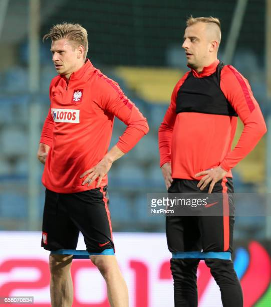 Lukasz Piszczek Kamil Grosicki of Poland during the training before Montenegro Poland match football in Podgorica Montenegro on March 25 2017