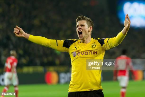 Lukasz Piszczek of Borussia Dortmund celebrate a goal during the UEFA Champions League Round of 16 Second Leg match between Borussia Dortmund and SL...