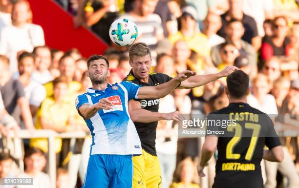 Lukasz Piszczek of Borussia Dortmund in action during a friendly match between Espanyol Barcelona and Borussia Dortmund as part of the training camp...