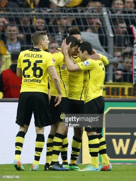 Lukasz Piszczek of Borussia Dortmund Robert Lewandowski of Borussia Dortmund PierreEmerick Aubameyang of Borussia Dortmund Henrikh Mkhitryan of...