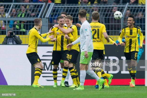 Lukasz Piszczek of Dortmund celebrate after scoring a goal during the Bundesliga match between Borussia Dortmund and VfL Wolfsburg at Signal Iduna...