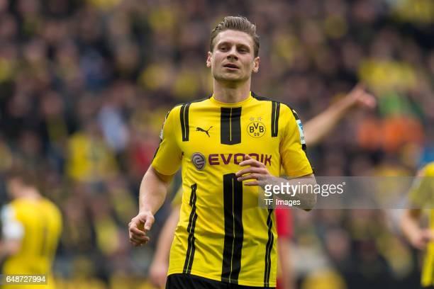 Lukasz Piszczek of Dortmund controls the ball during the Bundesliga match between Borussia Dortmund and Bayer 04 Leverkusen at Signal Iduna Park on...