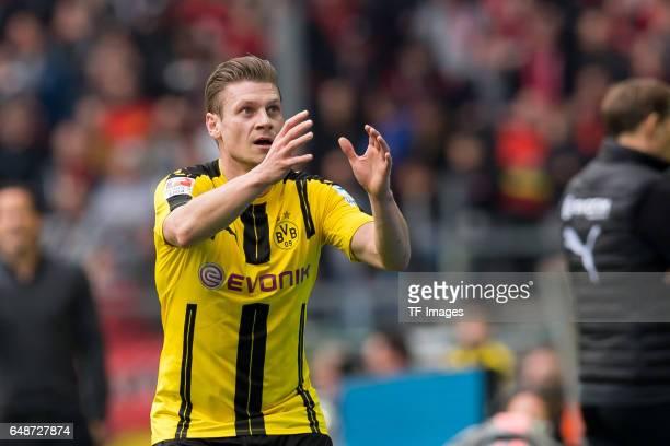 Lukasz Piszczek of Dortmund gestures during the Bundesliga match between Borussia Dortmund and Bayer 04 Leverkusen at Signal Iduna Park on March 4...