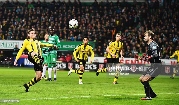 Lukasz Piszczek of Dortmund scores the second goal during the Bundesliga match between Werder Bremen and Borussia Dortmund at Weserstadion on January...