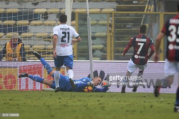 Lukasz Skorupski goalkeeper of Empoli FC saves his goal during the Serie A match between Bologna FC and Empoli FC at Stadio Renato Dall'Ara on...