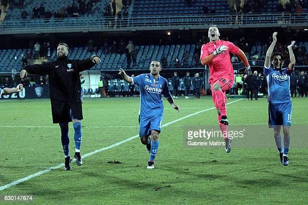 Lukasz Skorupski of Empoli FC and Levan Mchedlidsze of Empoli FC celebrate the victory after the Serie A match between Empoli FC and Cagliari Calcio...