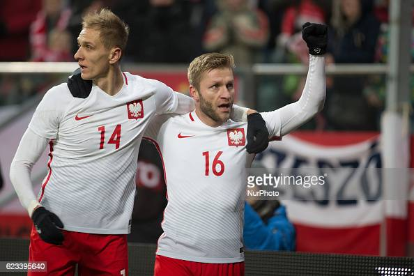 Lukasz Teodorczyk and Jakub Blaszczykowski of Poland during the international friendly football match Poland vs Slovenia on November 14 2016 in...